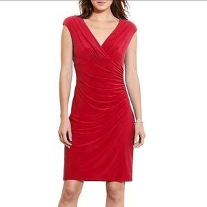 Ralph Lauren Red Wrap Around Vneck Evening Dress